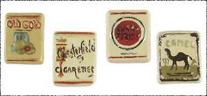 Set of 4 Scarce Vintage Ceramic Realistic Cigarette Pack Buttons