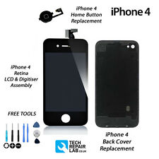 Retina LCD & Digitiser + Back + Home Button Replacement Kit For iPhone 4 - BLACK