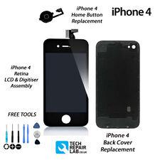 Retina LCD y Digitalizador + Trasera + Botón de Inicio Kit de reemplazo para iPhone 4-Negro