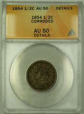 1854 Braided Hair Half Cent 1/2c ANACS AU-50 Details Corroded (Better Coin) GKG