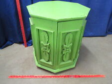 Vintage Handmade Wooden Spanish Octagonal End Table with Old Green Paint