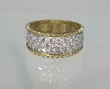Vintage 9ct gold Faux Diamond Cluster Statement ring Stunning! 1/2 Eternity Band