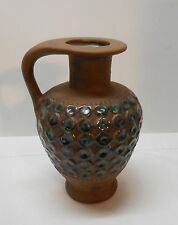 Brown Pottery Pitcher with Turquoise and White Drip Circle Designs Vintage USA