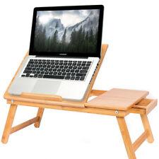 Tavolino Vassoio Letto Divano Porta Notebook Pc Tablet Pieghevole in Legno Bambu