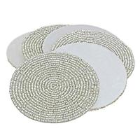 Coasters Set Cup Round Coaster Drink Mat Indian Handmade Silver Beaded 4 Inch