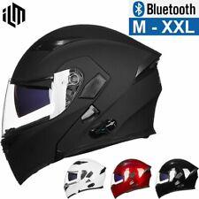 ILM Bluetooth Motorcycle Helmet Modular Flip up Dual Visor Intercom FM Radio DOT