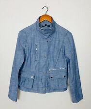 White House Black Market Denim Field Full Zip / Snap Jacket Blue Sz 4 Small