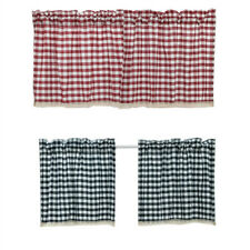 Lace Plaid Curtains Window Treatment Blind Drapes Cabinet Cafe Liftering Valance