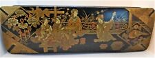 ANTIQUE JEWELLERY BOX JAPANESE BLACK LACQUER PAPER MACHE
