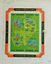 ZAMBIA 1972 National Parks Sheet - Set of 4 stamps