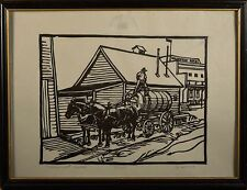 "William (Bill) Duma Original Linocut, Heritage Park Series, ""Wainwright Hotel""!"