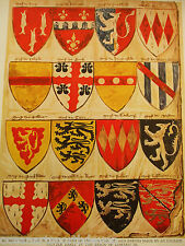 Impression antique 1926 héraldique seize boucliers d'un rouleau d'armes Anglais Chevaliers