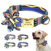 Floral Flower Personalized Dog Collar Nylon Puppy Custom Princess Dog ID Collar