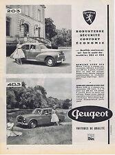 PUBLICITE ADVERTISING 074 1957 PEUGEOT  berline luxe 203 403