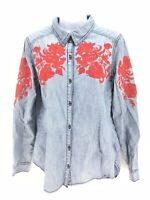 Sundance Long Sleeve Button Up Embroidered Shoulder Shirt Womens Medium Regular