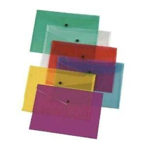 Plastic Wallets Document Folder A4 All Colours