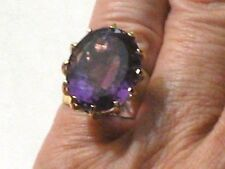 Mid Century Design Estate 14k Yellow Gold 32 ct. Amethyst Cocktail Ring Size 8