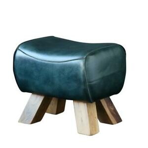 Pommel Horse Low Stool Blue Leather Seat with Natural Wooden Legs