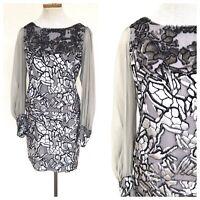 Vintage VTG 1960s 60s Gray Silver Velvet Mod Burnout Dress