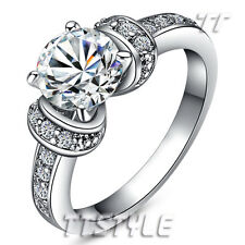 TT Luxury 18K White Gold GP Engagement Wedding Ring (RF50)
