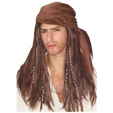 Brown Caribbean Pirate Costume Wig Adult Attached Head Scarf & Beads Halloween