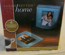 SARAH PEYTON HOME, 4 SOLID GLASS PHOTO COASTERS WITH WOOD HOLDER, BNIP