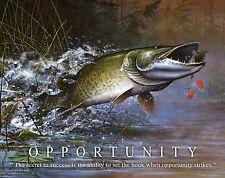 Muskie Walleye Large Mouth Bass Fishing Motivational Poster Art SET OF THREE