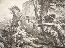 GRAVURE XVIIIe / SOUMISSION DE L'ESPAGNE / MORT DE ROLAND AN 778
