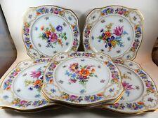 """Set 8 Antique Bavaria Tirschenreuth Dresden Square Salad Luncheon Plates 8.25"""""""