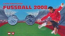 Österreich 2x 5 Euro 2008 Silber Fussball hgh im Blister