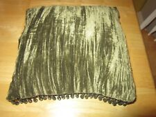 Green Velvet Silky Beaded Victorian Decorative Square Pillow - About 10 X !0