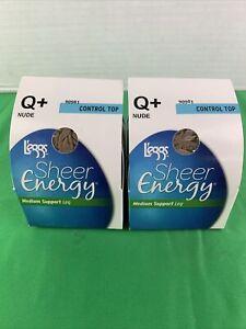 2PK L'eggs Sheer Energy Q+ Nude Control Top MediumSupport Leg WickingCoolComfort