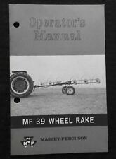 ORIGINAL 1969 MASSEY FERGUSON MF 39 WHEEL RAKE OWNER'S OPERATORS MANUAL MINTY