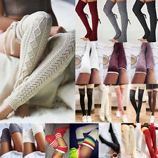 Womens Warm Knit Crochet Knee High Lolita Leg Warmers Soft Long Socks Stocking