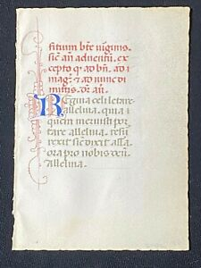 RARE Medieval Manuscript Vellum Book of Hours Leaf, ITALY, 1450
