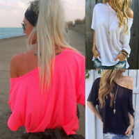 Women One Shoulder Casual Top Tee T-Shirt Basic Blouse Summer Holiday Loose Tops
