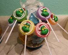 6 Grinch Lollipop Sugar Coated Christmas Ornaments Handcrafted USA Nora's