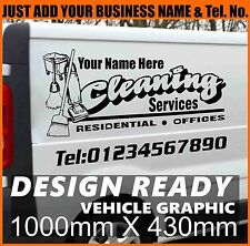 3x Cleaning Vehicle Graphics Self Adhesive Vinyl Sticker Decal Custom SignMaking
