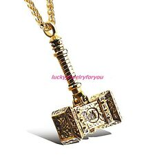 Charm Men's Jewelry Stainless Steel Gold Thor's Hammer Pendant Necklace Jewelry