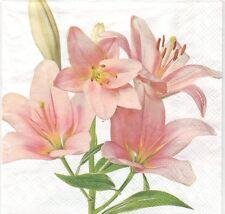 2 Serviettes en papier Fleurs Lys rose Decoupage Paper Napkins Flowers Lily