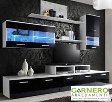 Parete attrezzata soggiorno JERSEY bianco nero lucido living casa arredo design