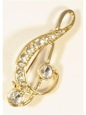 Brooch Large Treble Clef Clear Crystals Gold Finish Jewellery Music Teacher Gift