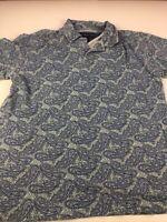Vintage Tommy Hilfiger Men's Size L Short Sleeve Polo Shirt 90s Paisley Blue