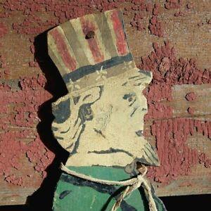 1900s Folk Art Painted Uncle Sam