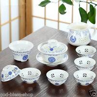 10pcs/lot Chinese tea set porcelain tea cups gaiwan sunflower cellular pitcher
