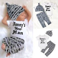 USA 3Pcs Newborn Baby Boy Romper Tops +Long Pants Hat Outfits Clothes 0-18M