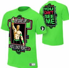 AUTHENTIC John Cena WWE Shirt  Never Give Up Lime Green
