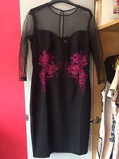 ASOS Little Mistress Mesh Sleeve Detail Pencil Dress Size 14