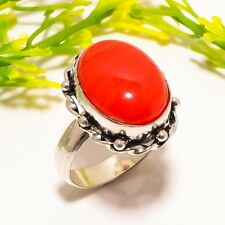 Red Lace Agate Gemstone Handmade Fashion Jewelry Ring Size 7.5 SR-548