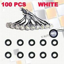 """100X Mini 12V White 3/4"""" Round Side 3 LED Marker Trailer Car Truck Bullet Light"""